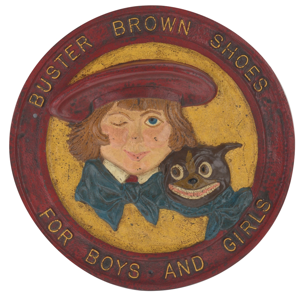Cast Iron Buster Brown Shoes Advertising Sign.