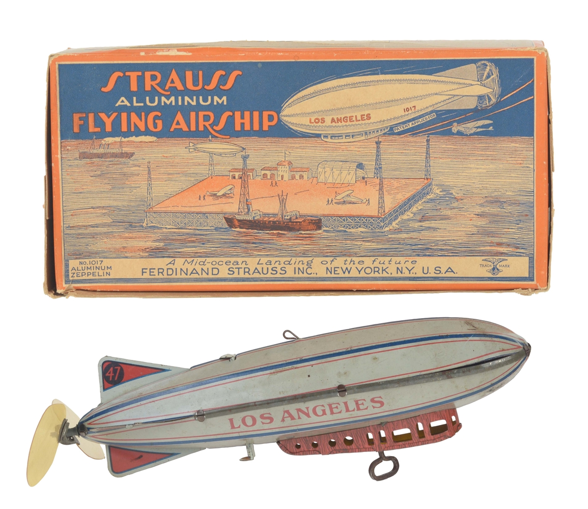 Strauss Tin Litho Wind Up Los Angeles Flying Zeppelin Toy In Box.