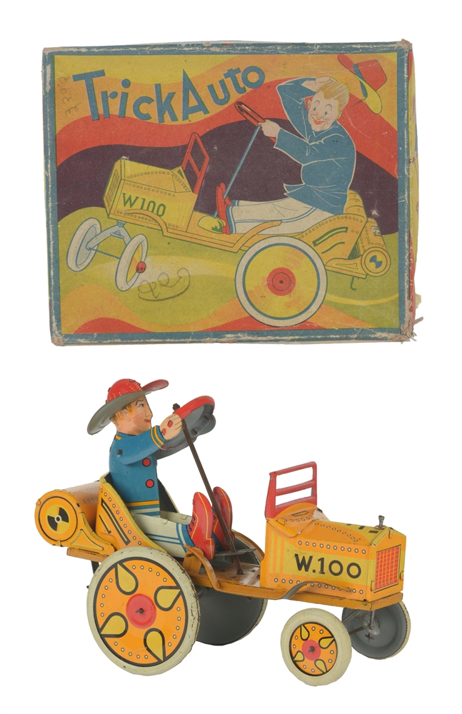 Rare Japanese Pre-War Tin Litho Trick Auto Toy With Box.
