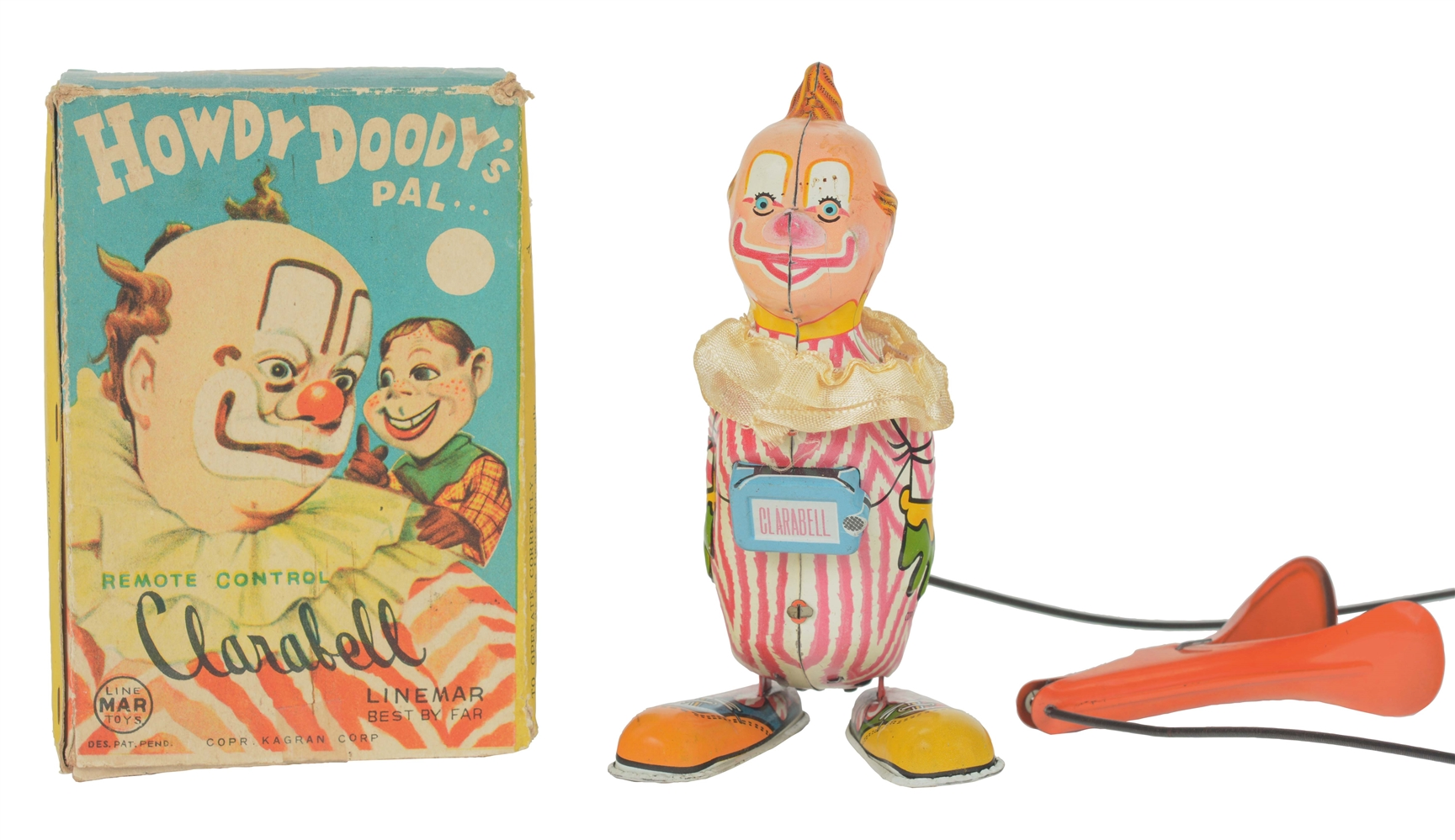 Scarce Tin Litho Clarabell Linemar Squeeze Toy with Box.