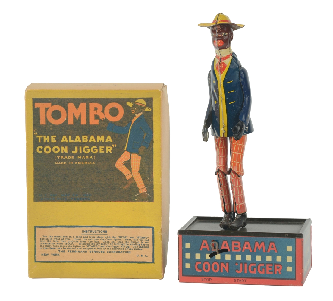 Strauss Tin Litho Wind Up Tombo Alabama Roof Dancer Toy With Box.