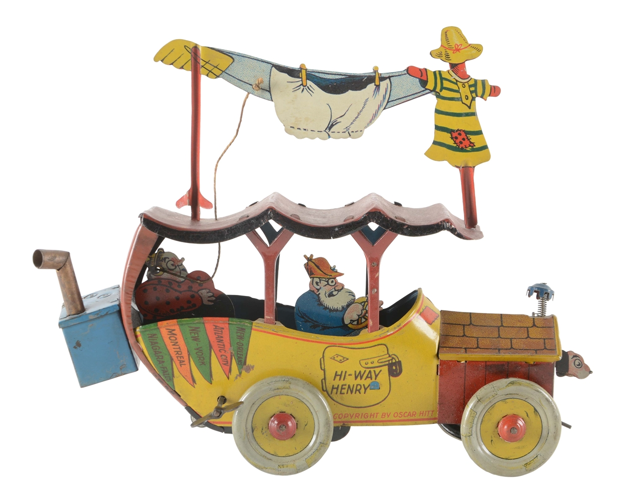 Scarce Nifty Tin Litho Wind Up Hi-Way Henry Automobile Toy.
