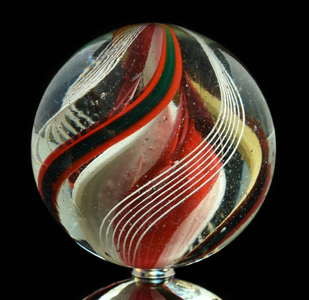 Outstanding Large Three Stage Ribbon Swirl Marble.