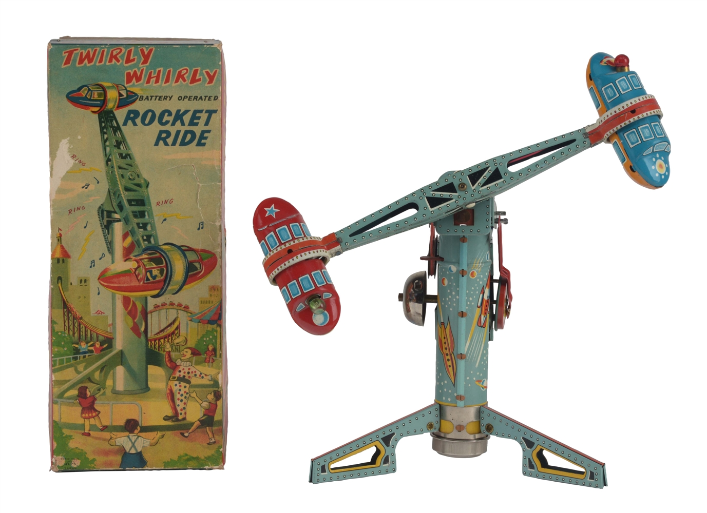 Japanese Tin Litho Battery Operated Twirly Whirly Rocket Ride With Box.