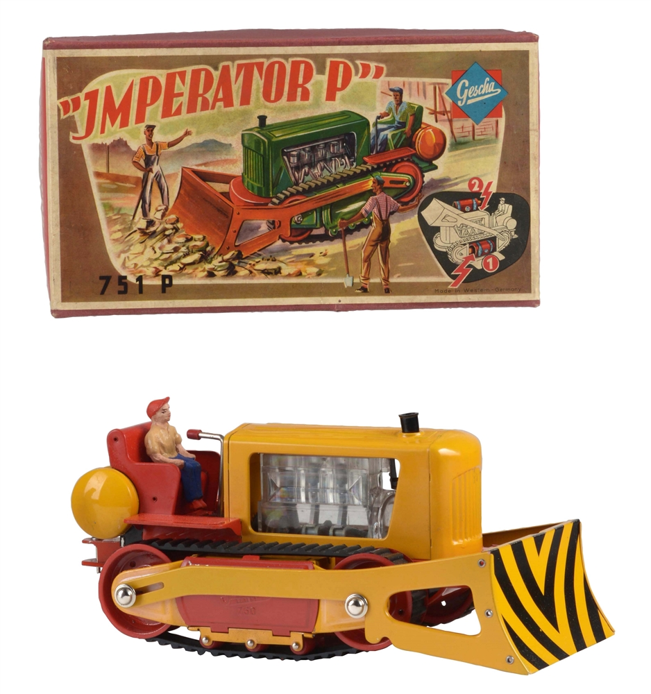 "German Gescha Battery Operated ""Imperator P"" Tractor Toy In Box."