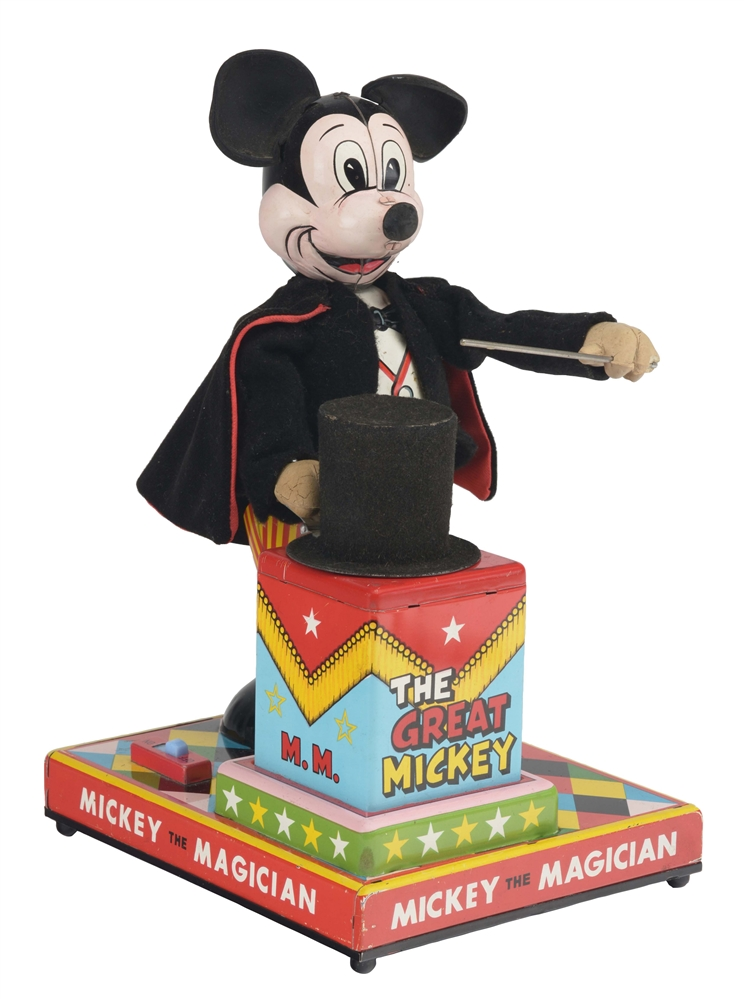 Linemar Walt Disney Battery Operated Mickey The Magician Toy.