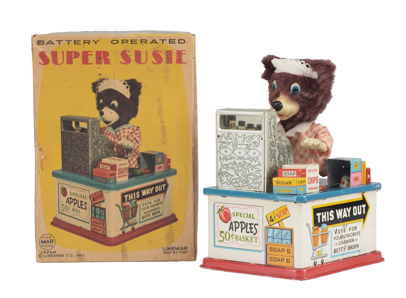 Japanese Tin Litho Battery Operated Super Susie Cashier Bear In Box.
