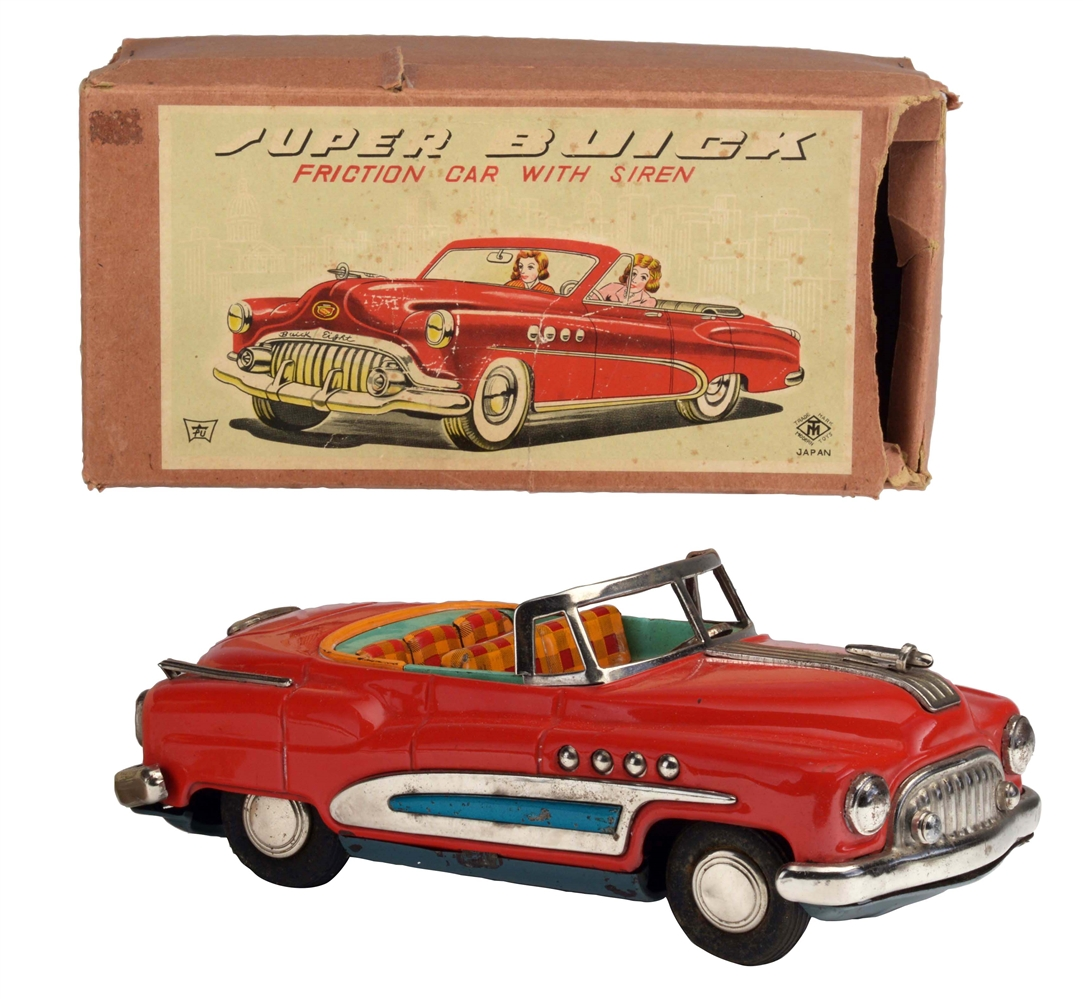 Japanese Tin Litho Friction Super Buick Toy In Box.