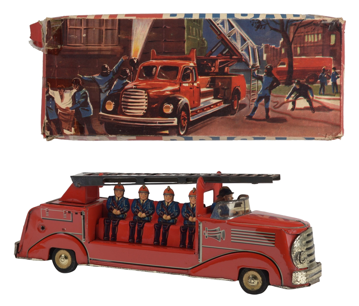 German Tin Litho Friction Fire Brigade Truck In Box.