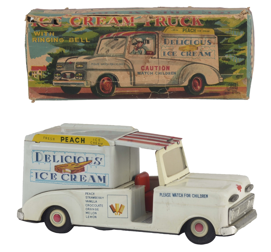 Japanese Tin Litho Friction Delicious Ice Cream Truck In Box.