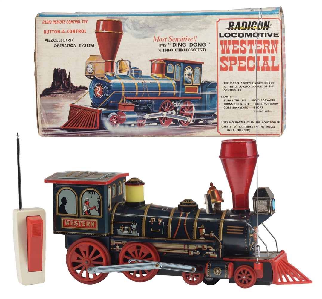 Japanese Tin Litho Battery Operated Western Special Train Engine Toy In Box.