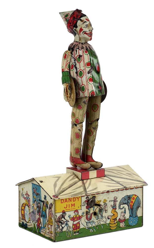 Strauss Tin Litho Wind Up Dandy Jim Roof Dancing Toy.