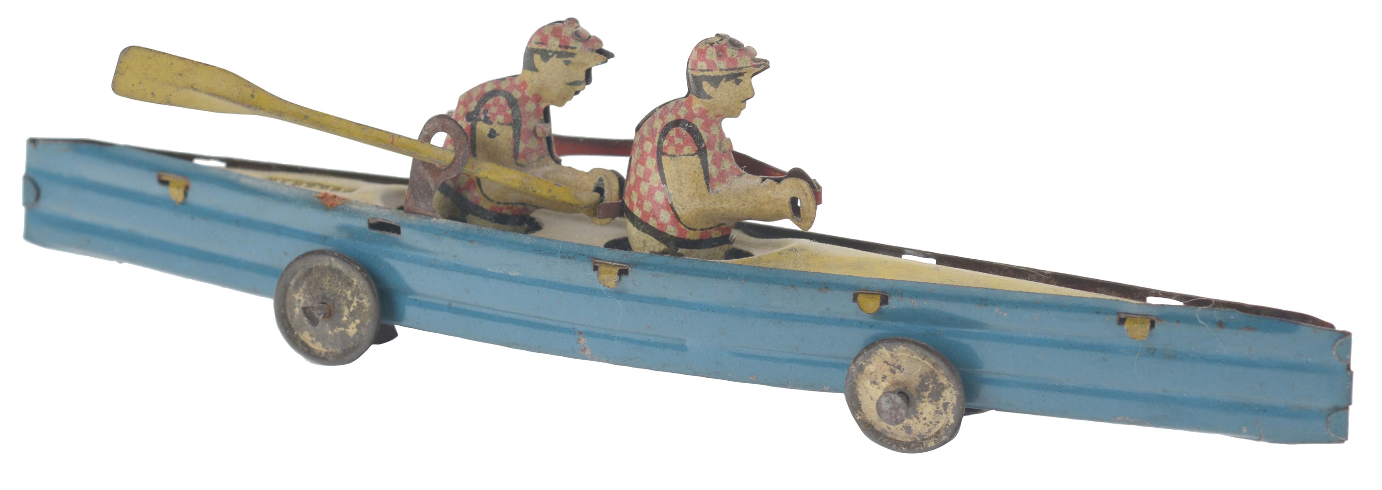German Tin Litho Two Man Penny Toy Racing Boat.