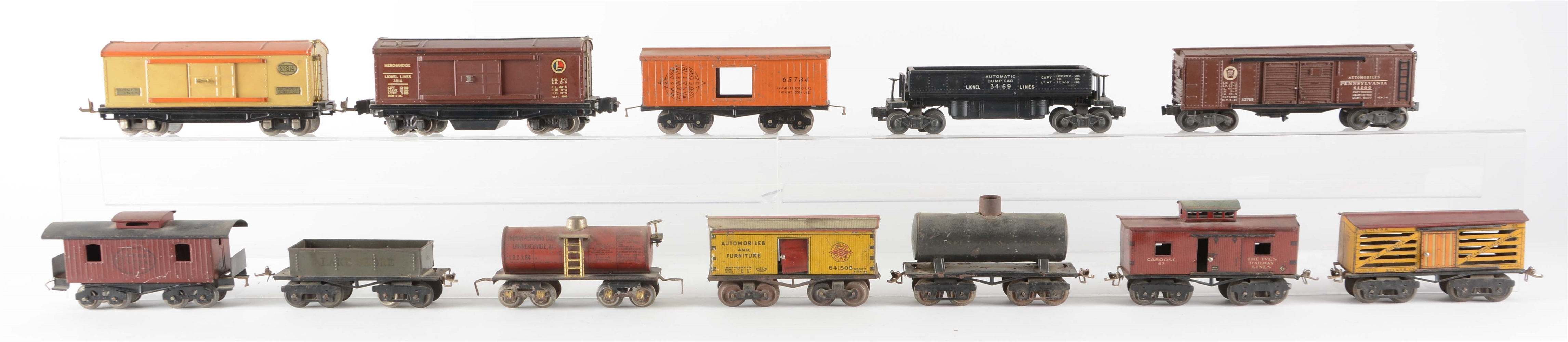 Lot Of 12: Ives and Altered Lionel Train Cars.