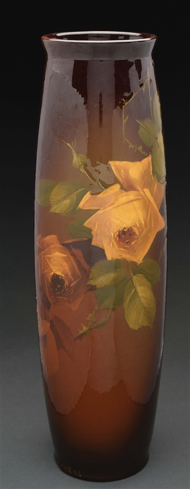 Roseville Pottery Large Rozane Vase with Yellow Wild Roses.