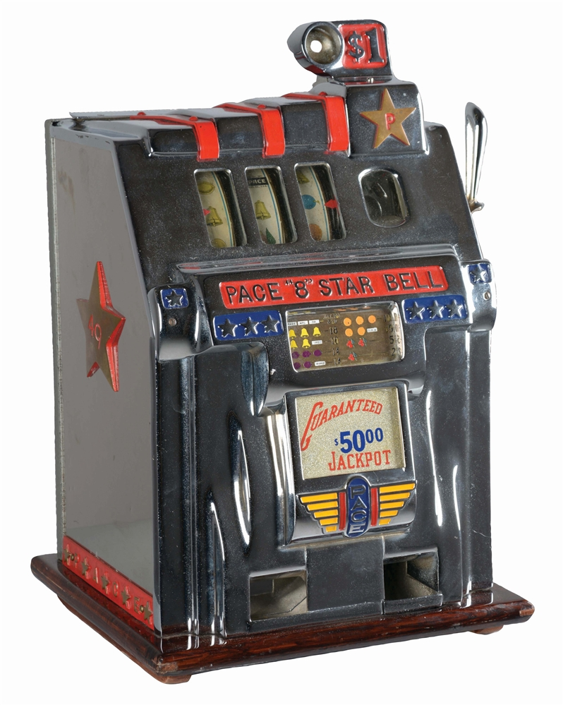 "**$1 PACE MFG. CO. ""8"" STAR BELL SLOT MACHINE."
