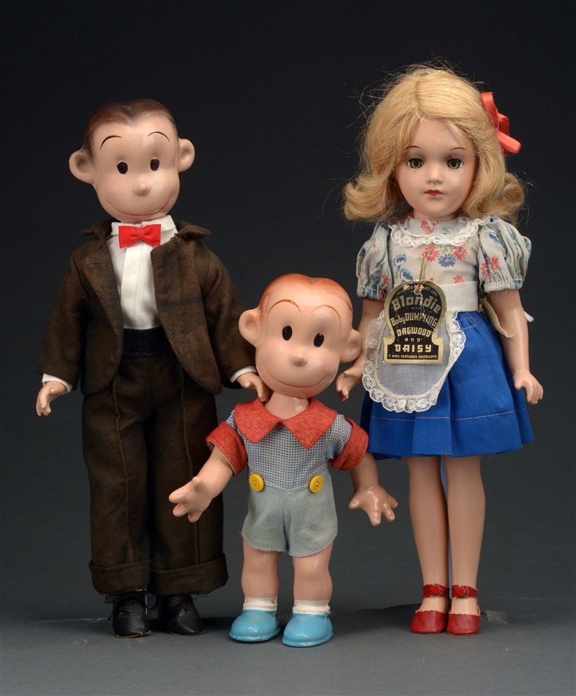 SET OF 3: RARE 1930S BLONDIE COMIC STRIP CHARACTER DOLLS.