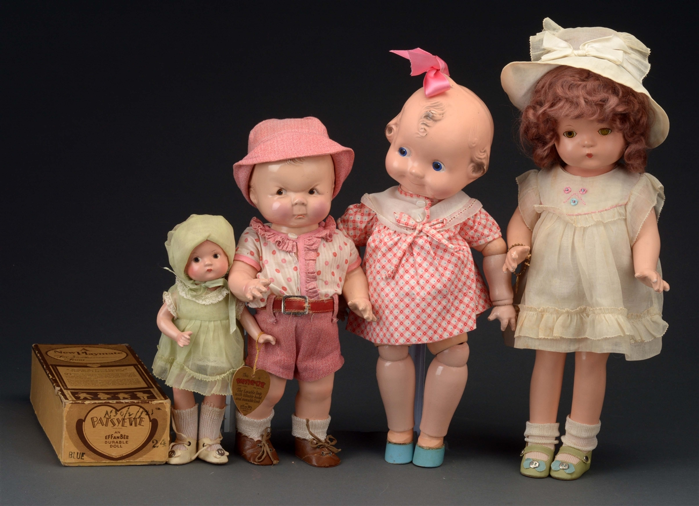 LOT OF 4: AMERICAN COMPOSITION DOLLS.