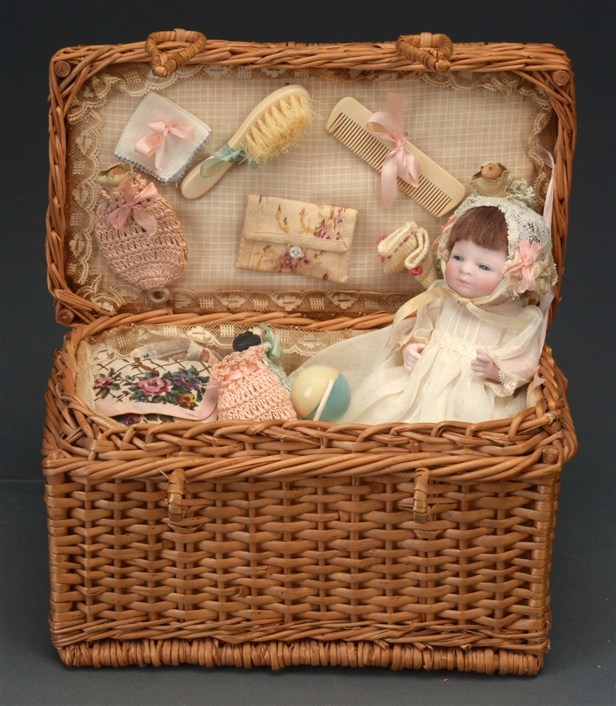 ALL BISQUE BYE LO BABY IN BASKET.