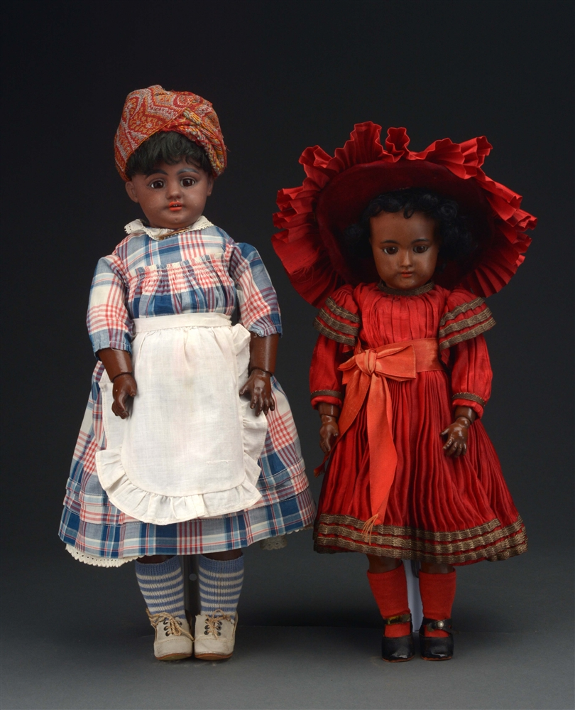 LOT OF 2: SIMON & HALBIG 739 AND HEINRICH HANDWERCK BLACK BISQUE DOLLS.
