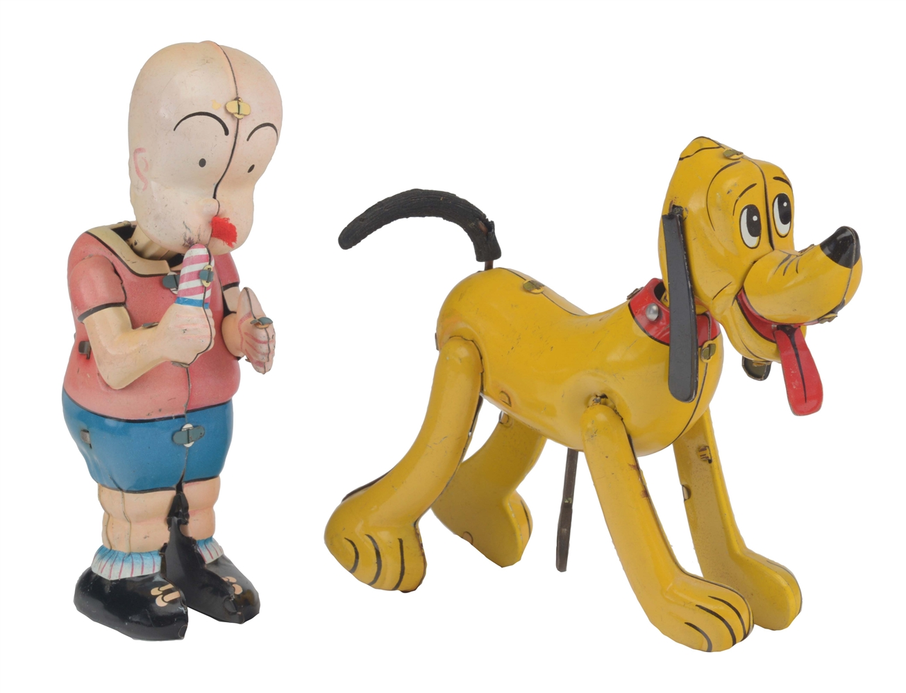 Lot Of 2: Linemar Tin Litho Wind Up Character Toys.