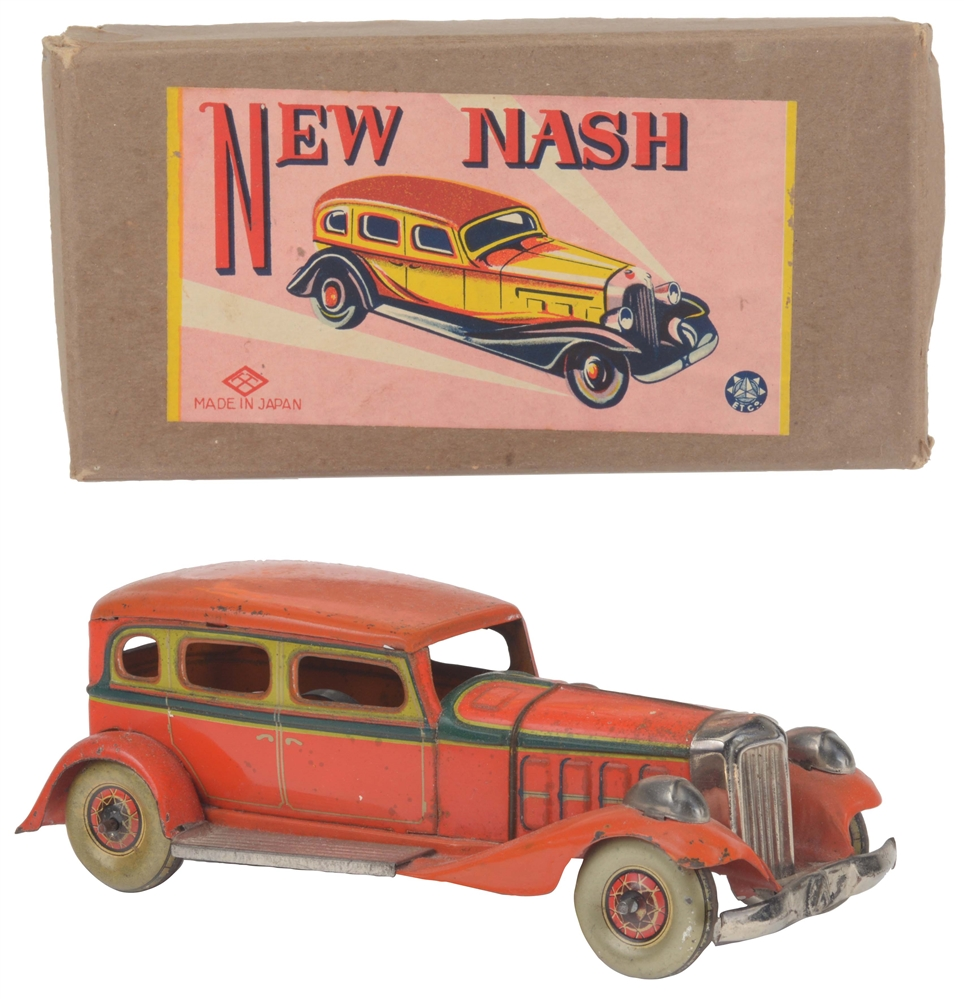 Japanese Pre-War Tin Litho Nash Automobile Toy In Box.