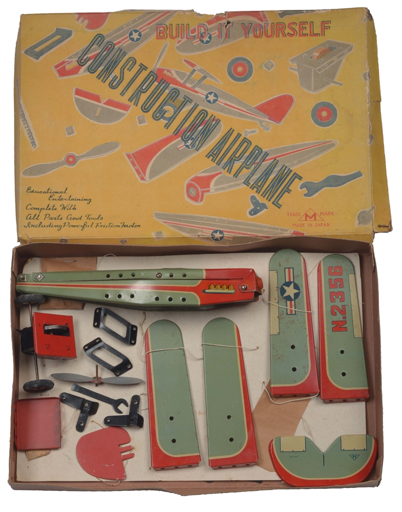 Scarce Japanese Tin Litho Construction Airplane Set In Box.