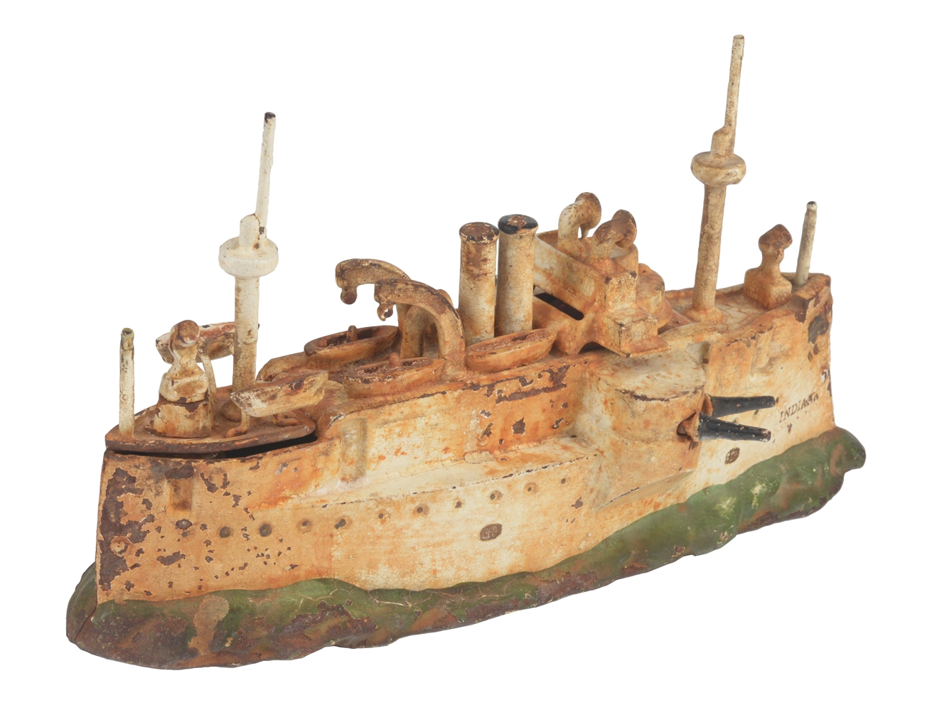 Cast Iron American Made Indiana Battle Ship Bank.