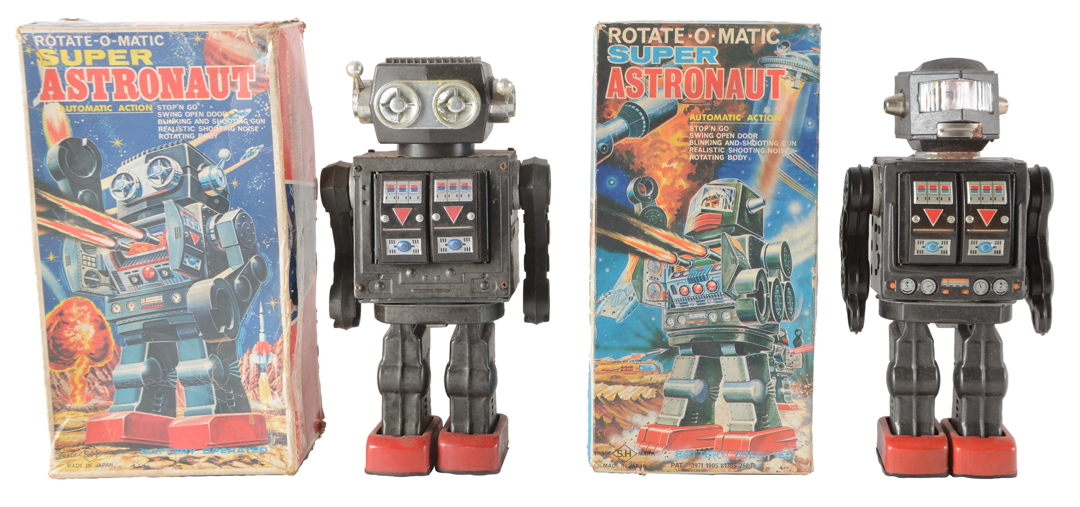 Lot Of 2: Japanese Battery Operated Super Astronaut Toys In Boxes.