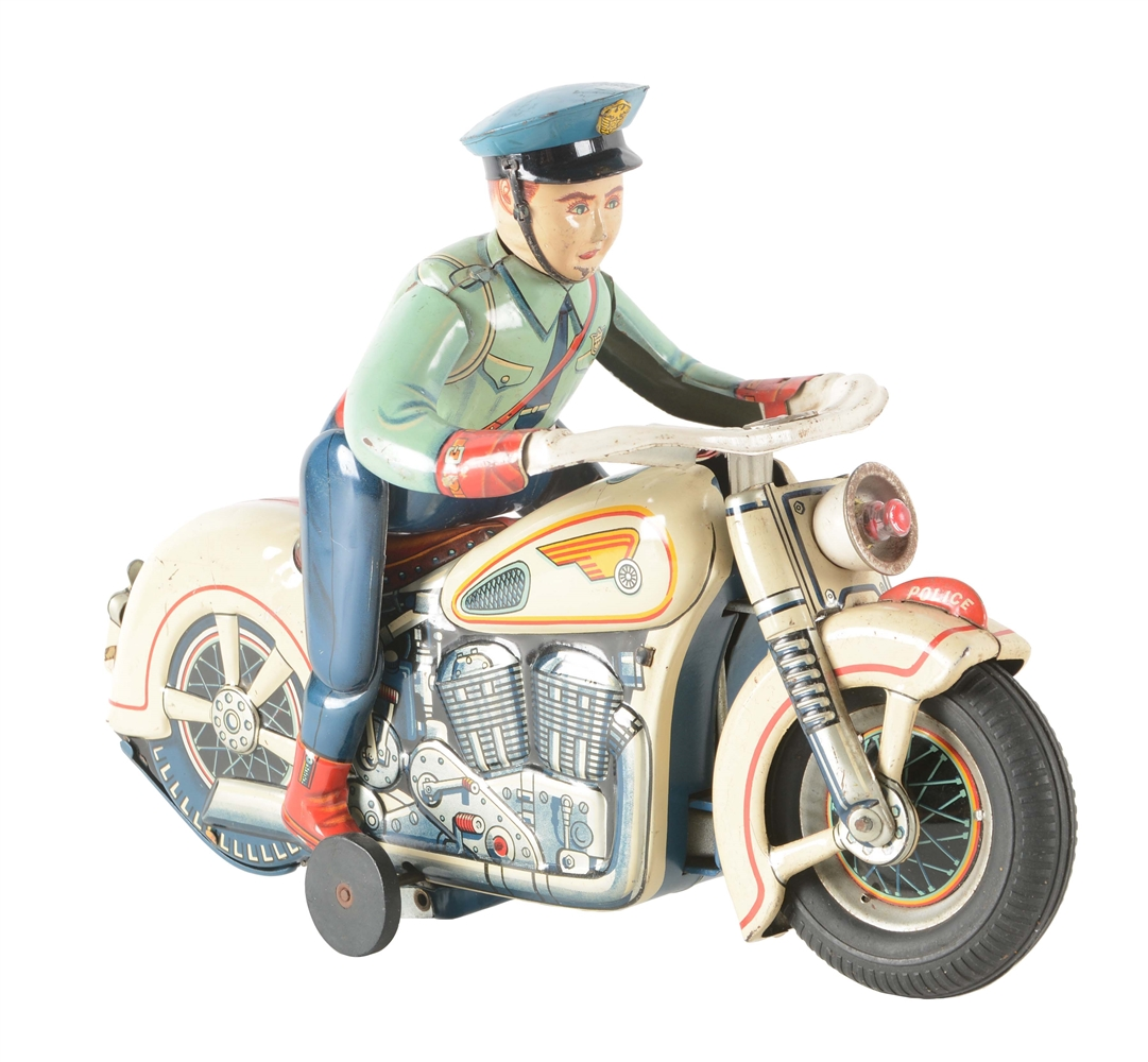 Japanese Tin Litho Battery Operated Police Man On Motorcycle.