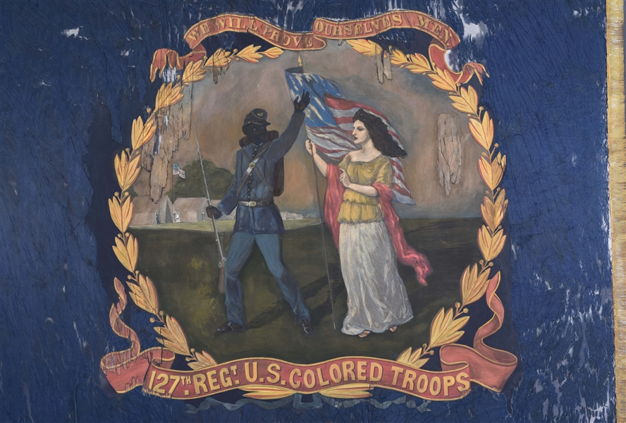 127TH REGIMENT UNITED STATES COLORED TROOPS (USCT) REGIMENTAL BATTLE FLAG