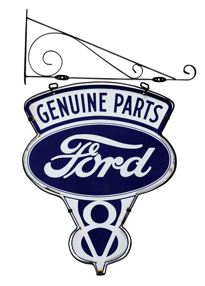 Outstanding Ford V8 Die-Cut Porcelain Sign with Ring & Hanging Bracket.