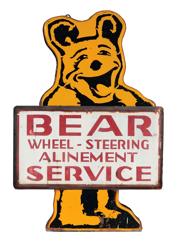 Bear Wheel Alignment Service Die-Cut Tin Sign On Original Can.