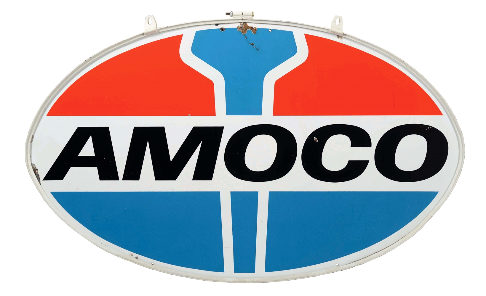Amoco Gasoline Porcelain Sign with Original Metal Ring.