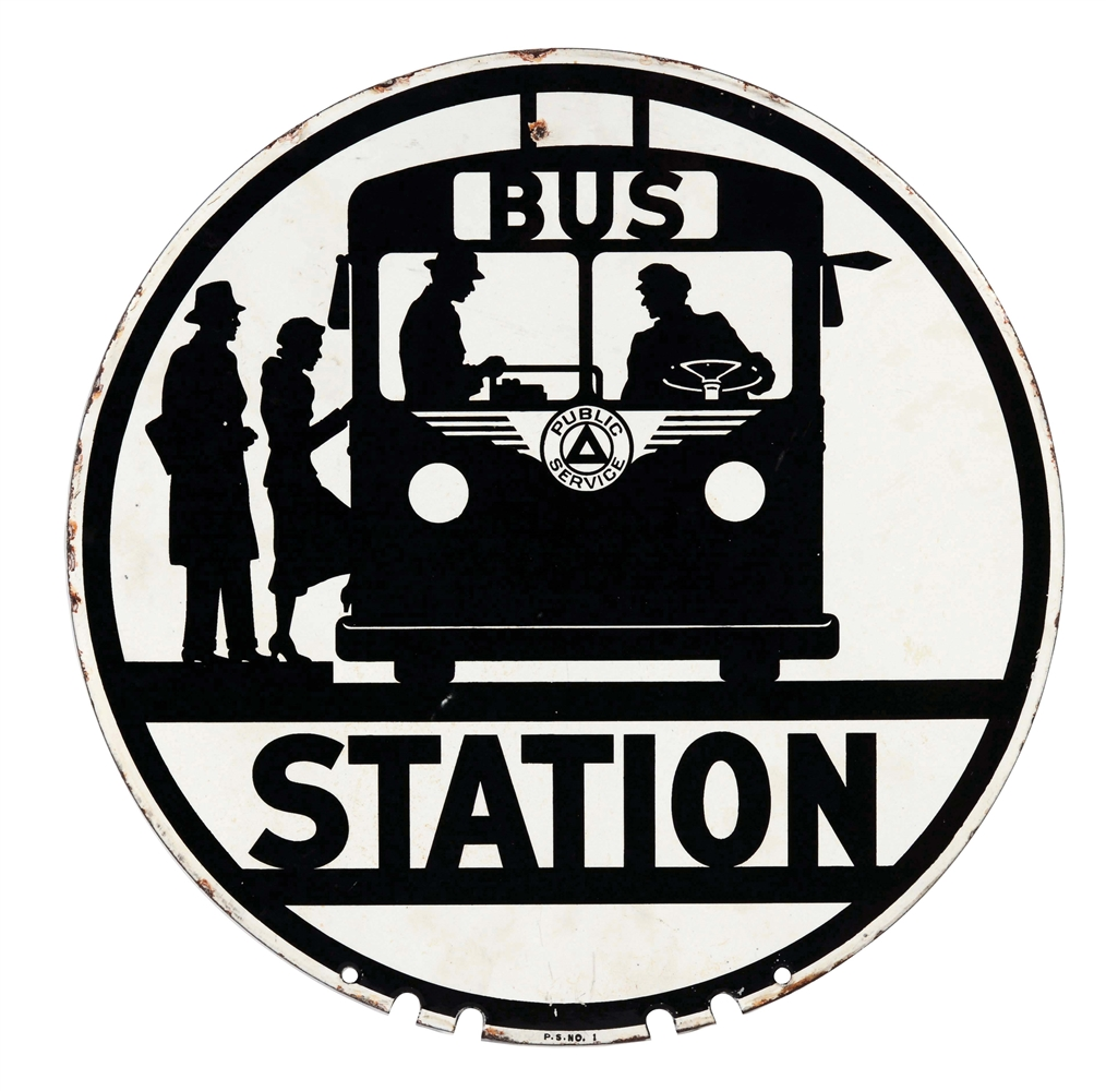 Bus Station Porcelain Sign with Bus Graphic.