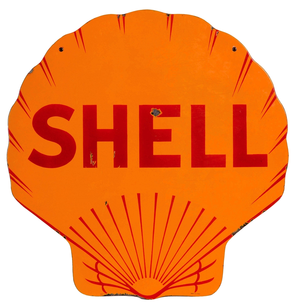 Shell Gasoline Die-Cut Porcelain Service Station Sign.