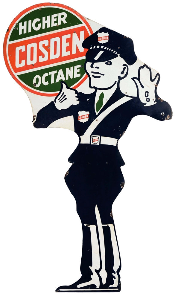 Cosden Higher Octane Gasoline Police Officer Die-Cut Porcelain Sign.