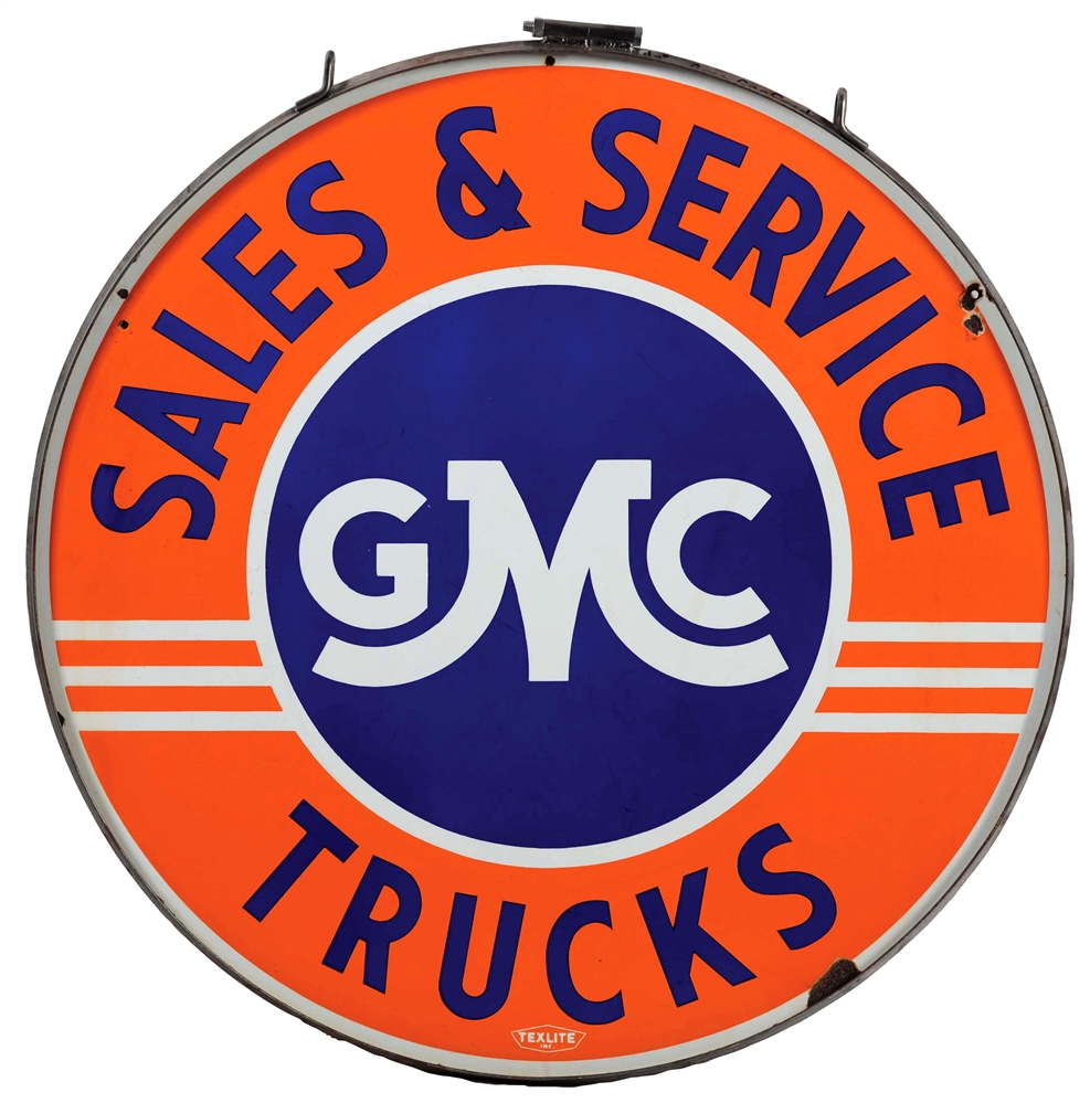 GMC Trucks Sales & Service Porcelain Sign with Metal Ring.