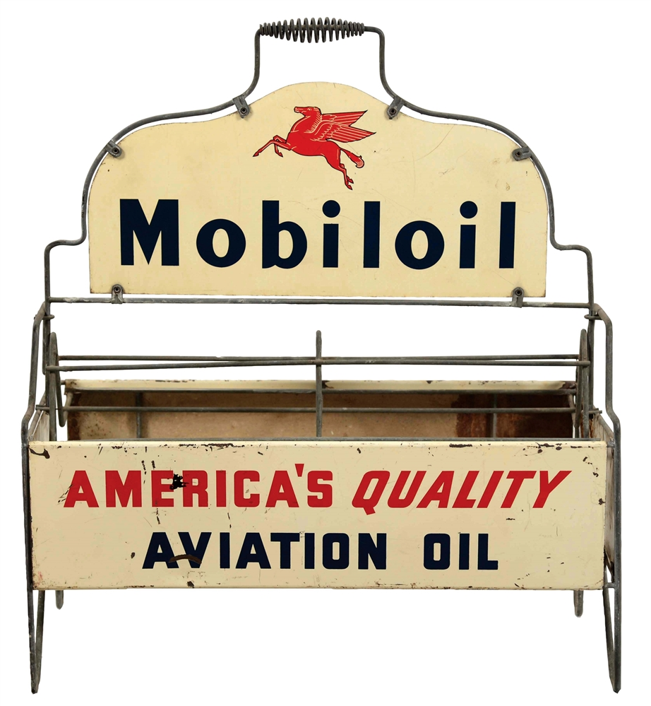 Mobil Aviation Motor Oil Bottle Rack with Pegasus Graphic.