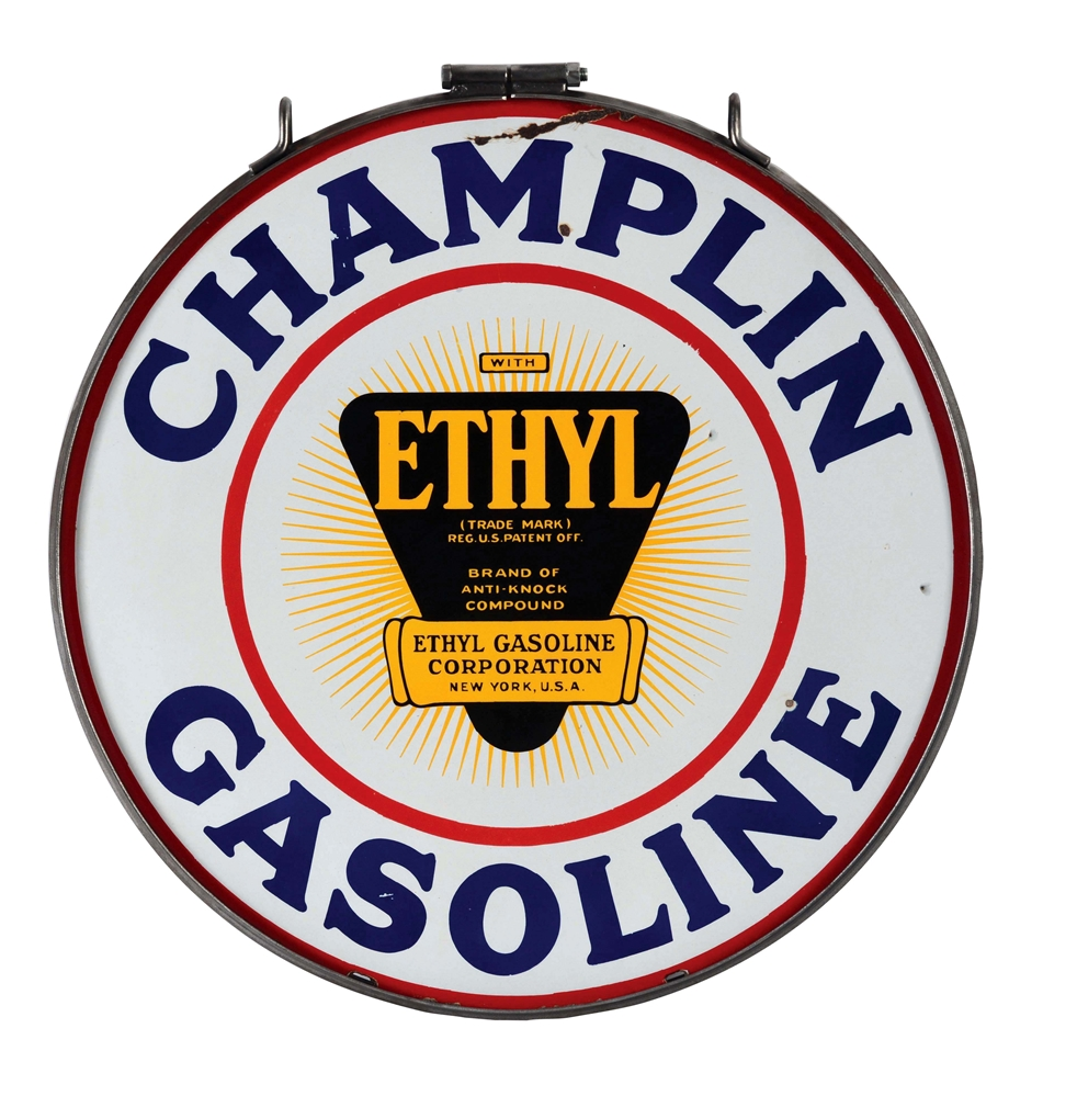 Champlin Ethyl Gasoline Porcelain Sign with Iron Ring.