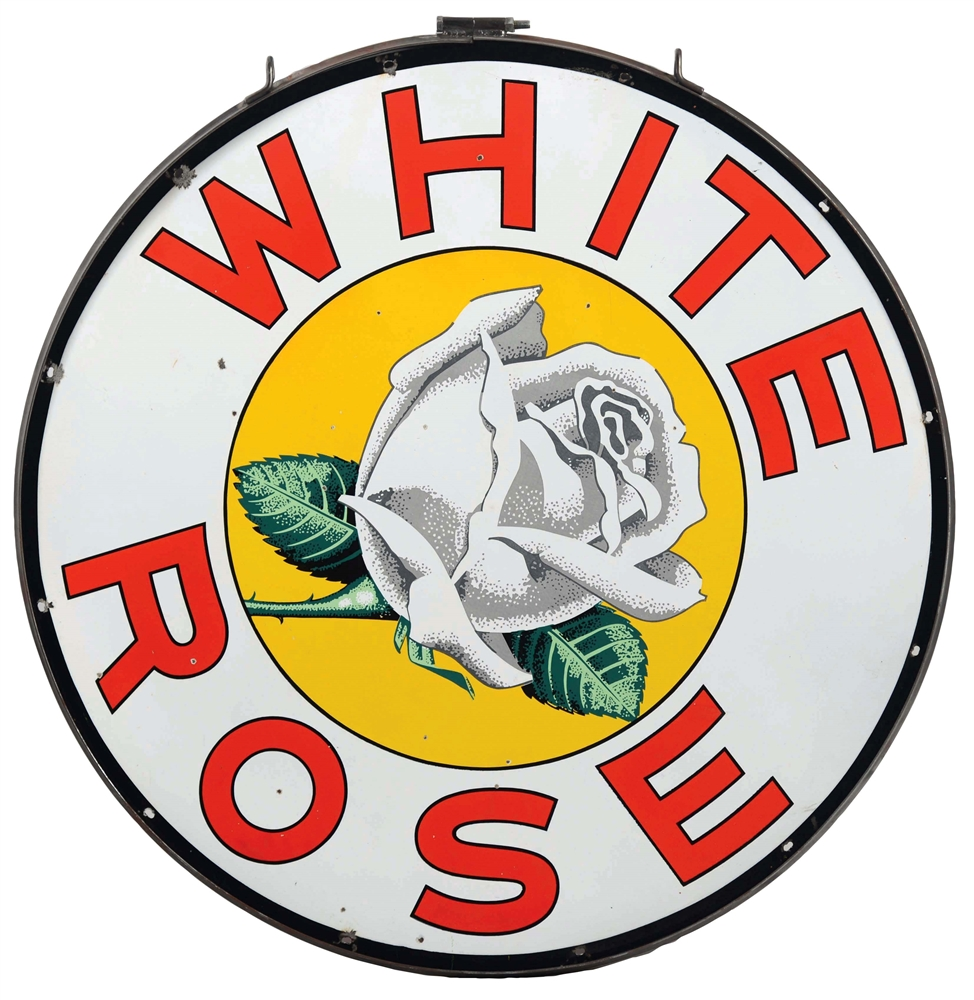 White Rose Gasoline Porcelain Sign with Rose Graphic.