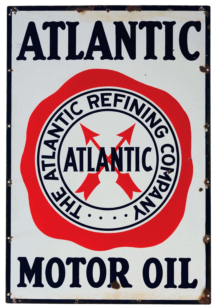 Atlantic Motor Oil Porcelain Sign with Arrow Graphic.