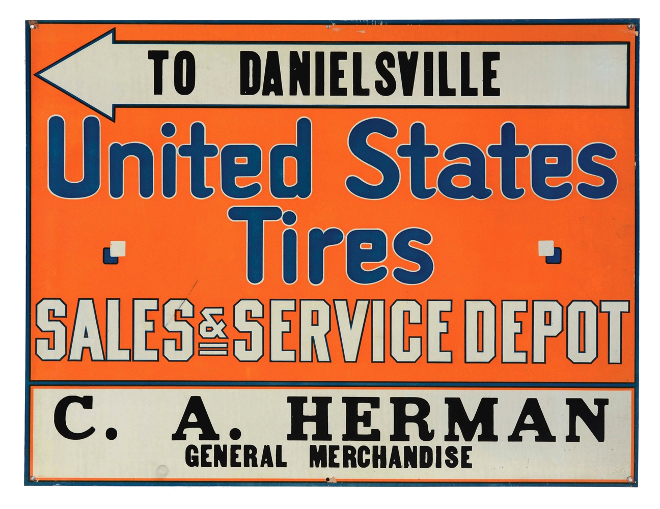 U.S. Tires Sales & Service Depot Tin Tacker Sign.