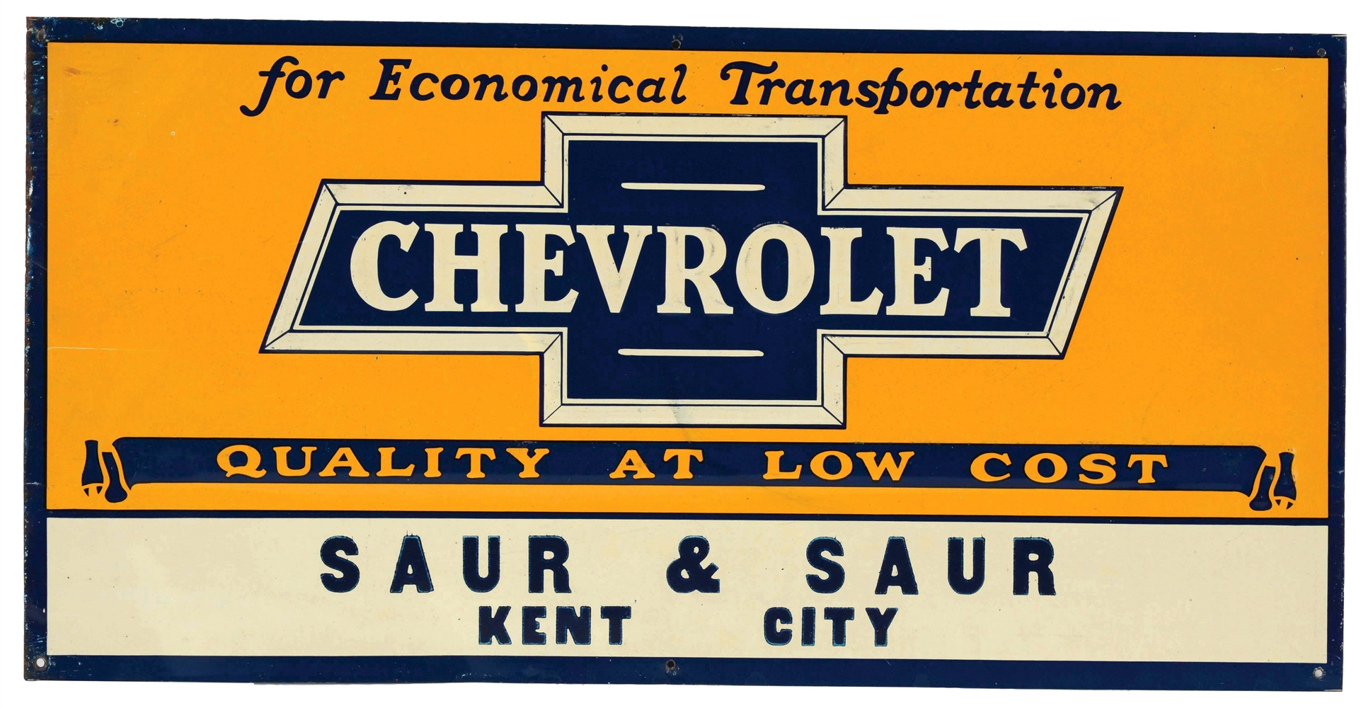 Chevrolet Embossed Tin Dealership Sign.