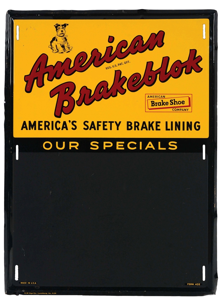 American Brakeblok Brake Lining Service Station Embossed Chalk Board.