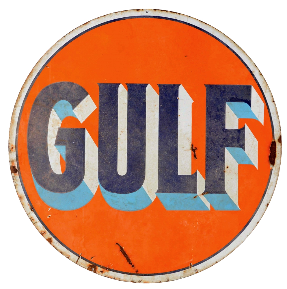 Gulf Gasoline Porcelain Service Station Sign.