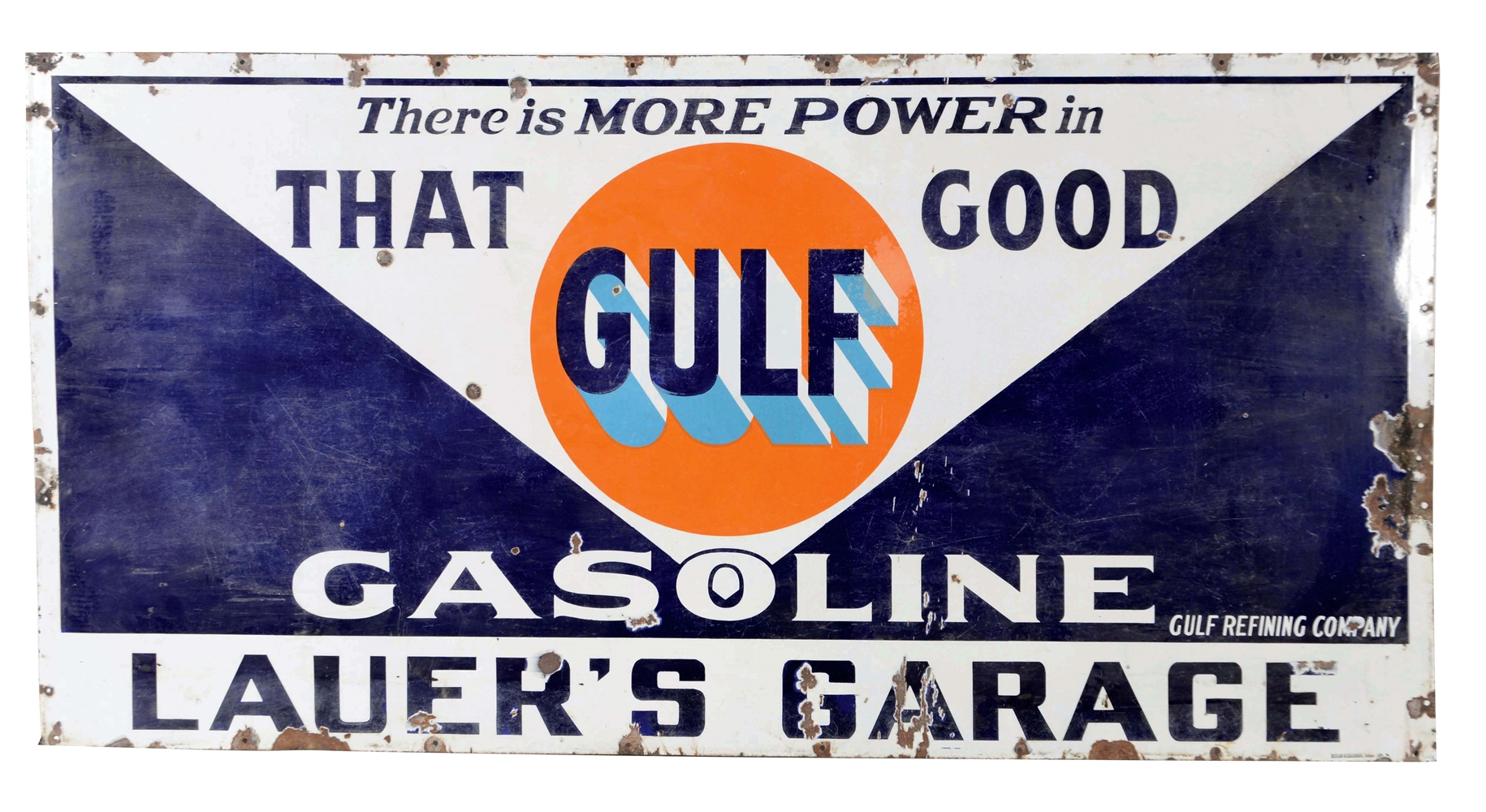 That Good Gulf Gasoline Porcelain Sign For Lauers Garage.