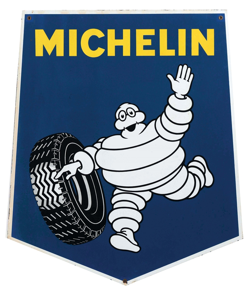 Michelin Tires Porcelain Sign with Bibendum Graphic.