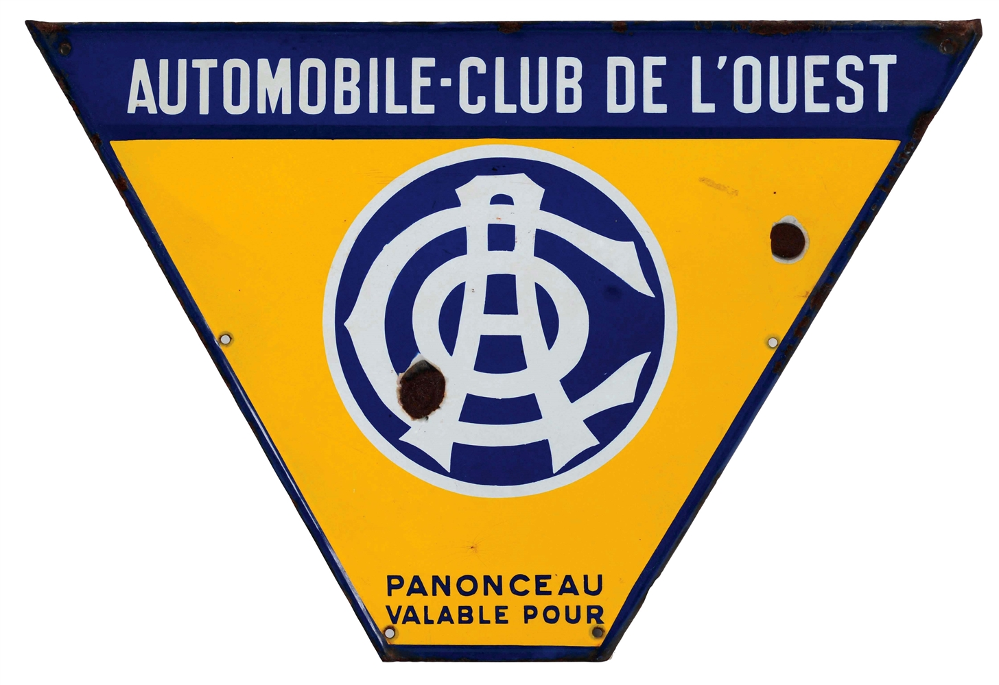 Automobile Club De LOuest Porcelain Sign with Self Framed Edge.