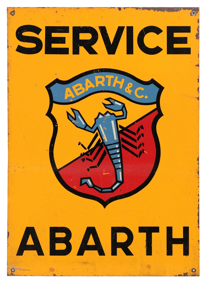 Abarth Service Painted Tin Sign with Scorpion Graphic.